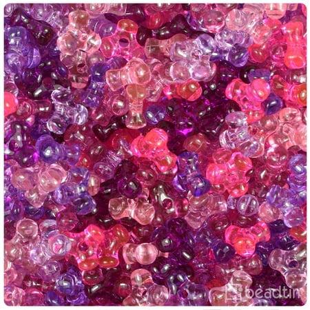 - BeadTin Pink & Purple Mix Transparent 11mm TriBead Craft Beads (600pcs)