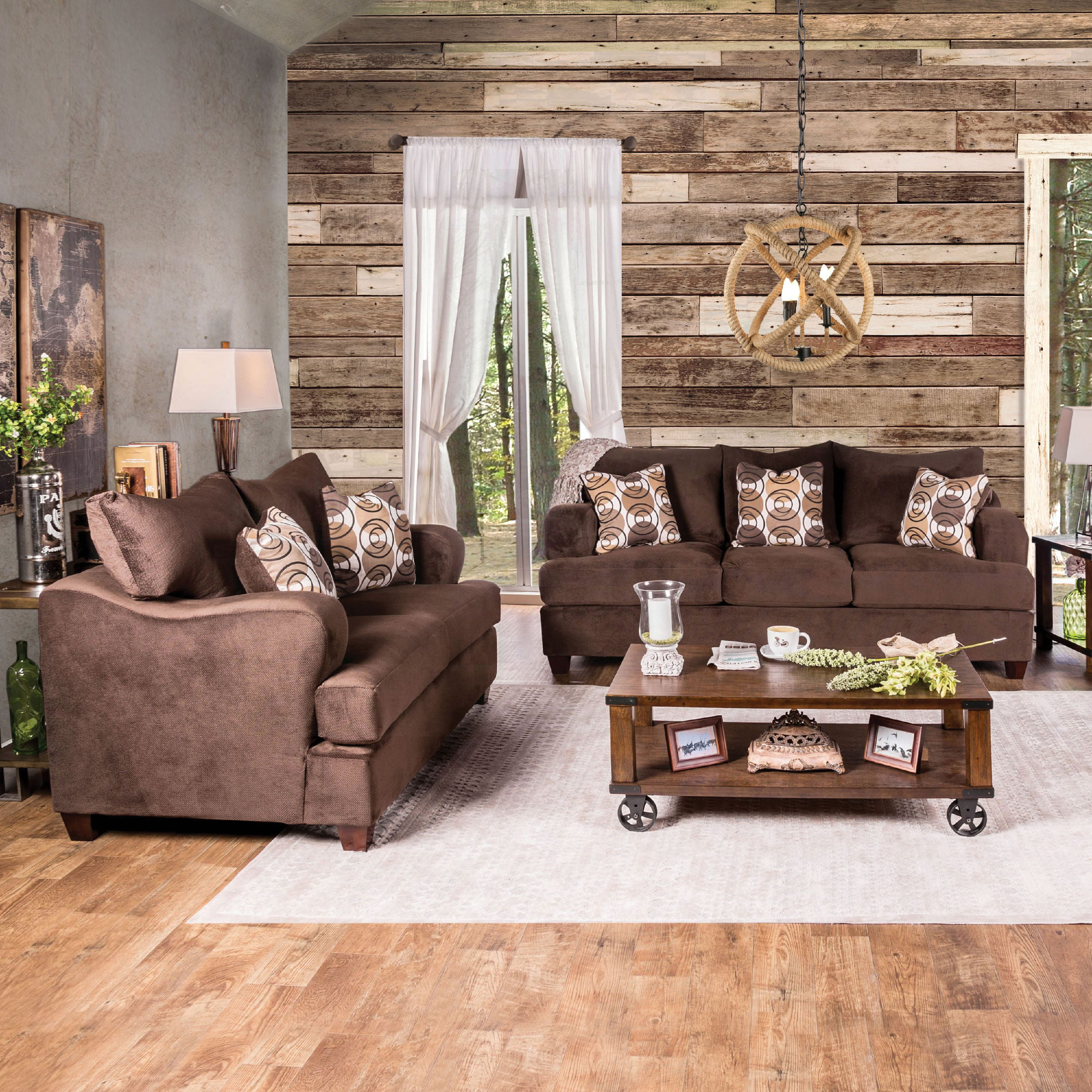 Furniture of America Howard Transitional 2-Piece Sofa Set, Chocolate by Furniture of America