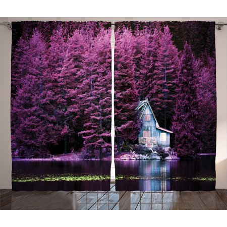 Lavender Curtains 2 Panels Set, Purple Trees by a Lake with Blue Wooden Rustic Lakehouse Lodge Romantic Spring Nature, Window Drapes for Living Room Bedroom, 108W X 90L Inches, Purple, by Ambesonne