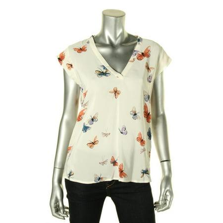 0c7056a01bae4 Joie - Joie Womens Silk Butterfly Print Blouse - Walmart.com