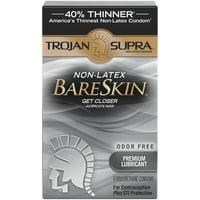 Trojan Supra Non-Latex Bareskin Lubricated Condoms, 6 ct