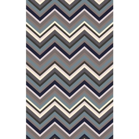 8 X 11 Chevron Crinkles Navy Blue And Taupe Gray Hand