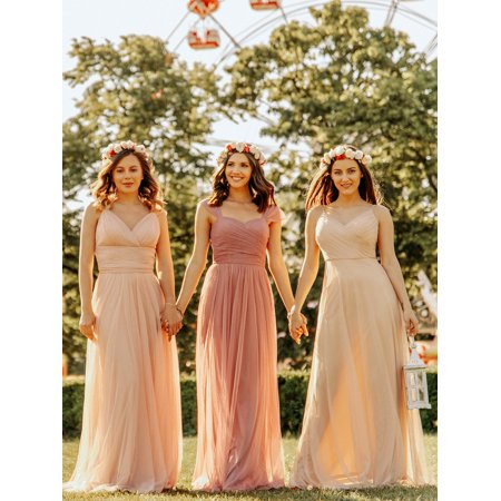 Ever-Pretty Women's Elegant V-Neck Tulle Formal Evening Bridesmaid Dresses for Women 07303 Blush