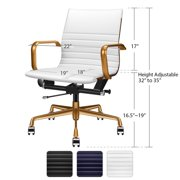 Awesome Luxmod Mid Back Office Chair With Gold Armrest And Base White Adjustable Swivel Chair In Durable Vegan Leather White Ibusinesslaw Wood Chair Design Ideas Ibusinesslaworg
