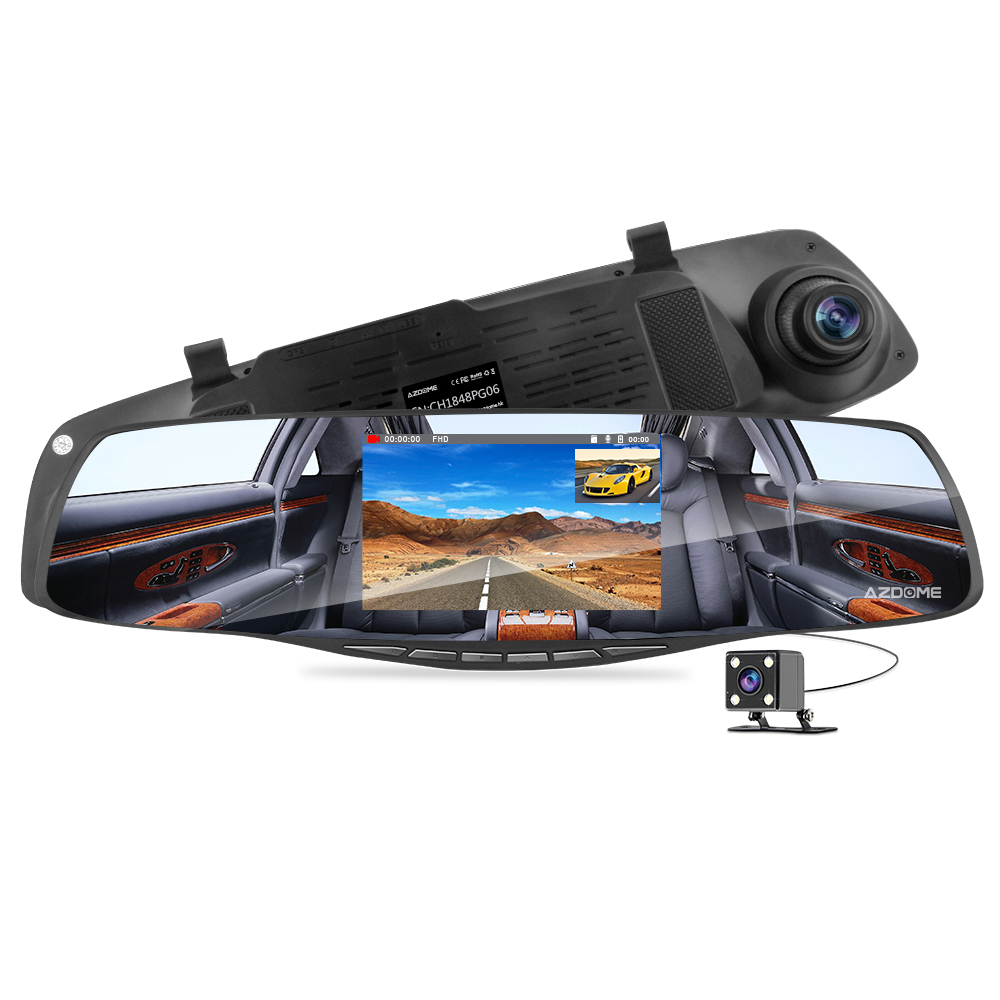 AZDOME HD 1080P Dual lens Auto DVR Mirror Dash Cam Recorder Car Rear View Camera