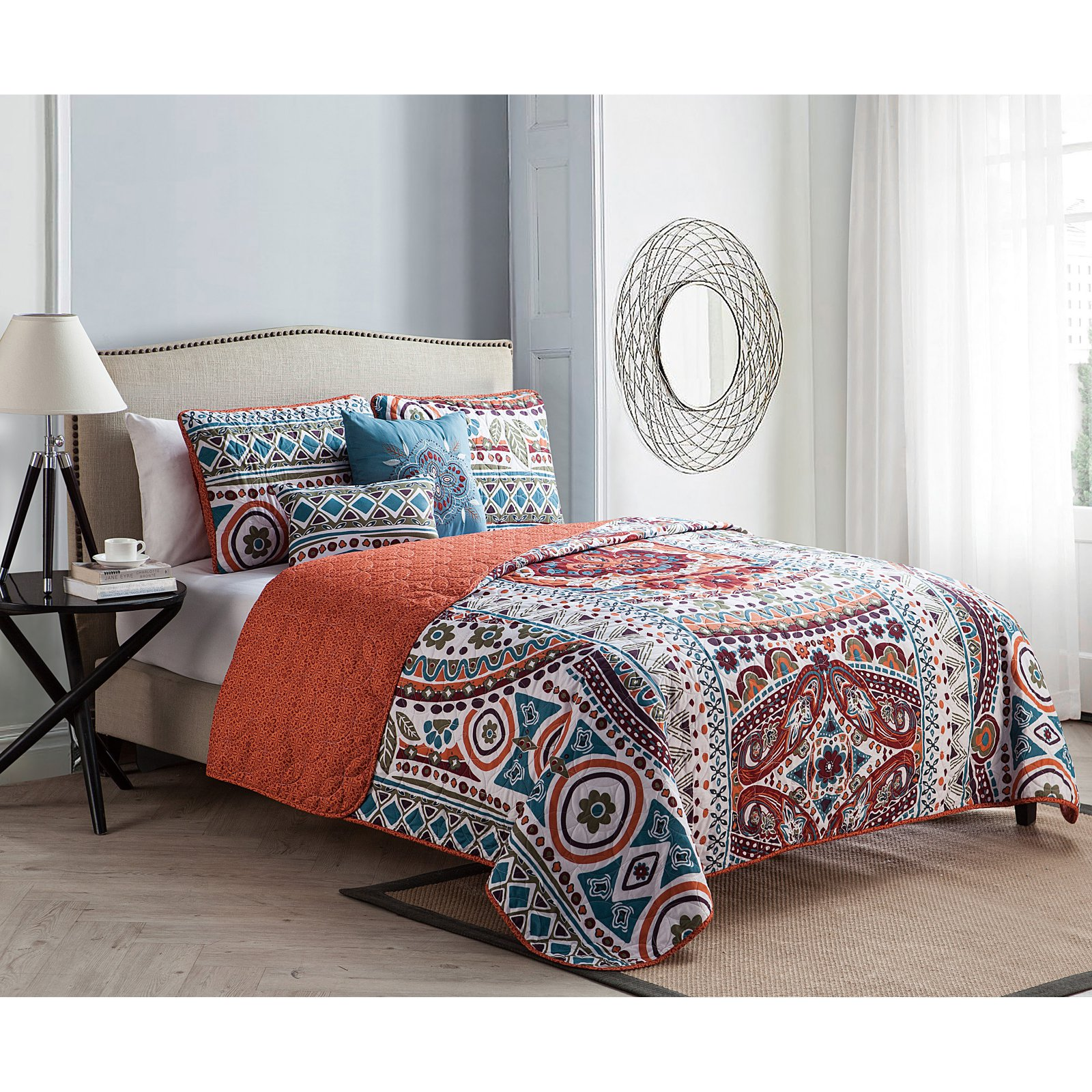 ***DISCONTINUED*** VCNY Natasha Textured Geometric Stripe Reversible Bedding Quilt Set, Multiple Colors Available