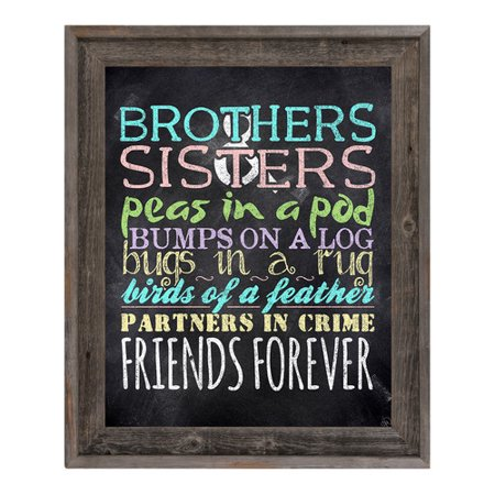 Click Wall Art Brothers And Sisters Chalk Framed Textual Art