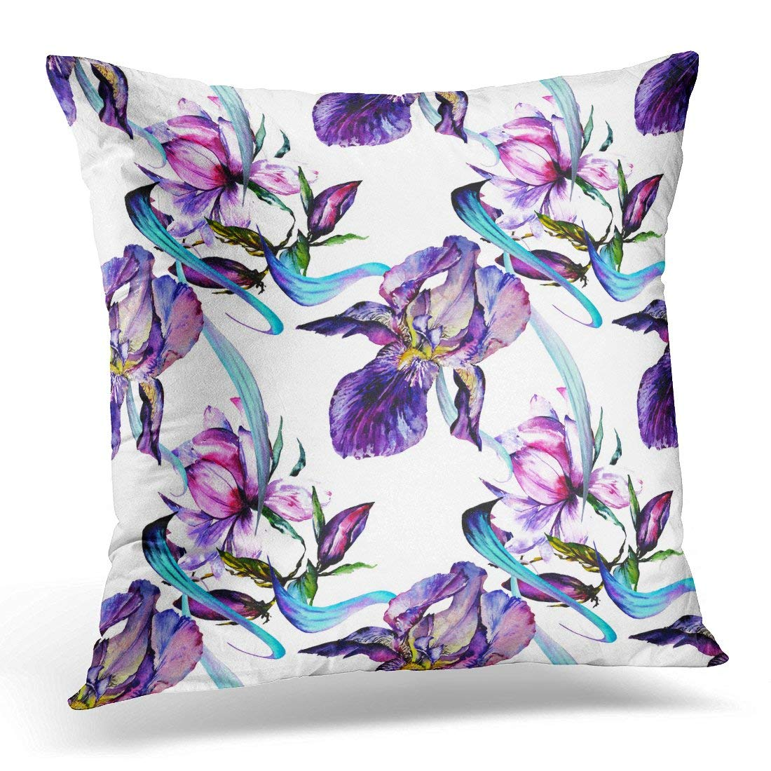 ARHOME Watercolor Exotic Tropical Wildwlower Beautiful Colorful Magic Pink Rose Peony Magnolia and Violet Throw Pillow Case Pillow Cover Sofa Home Decor 16x16 Inches