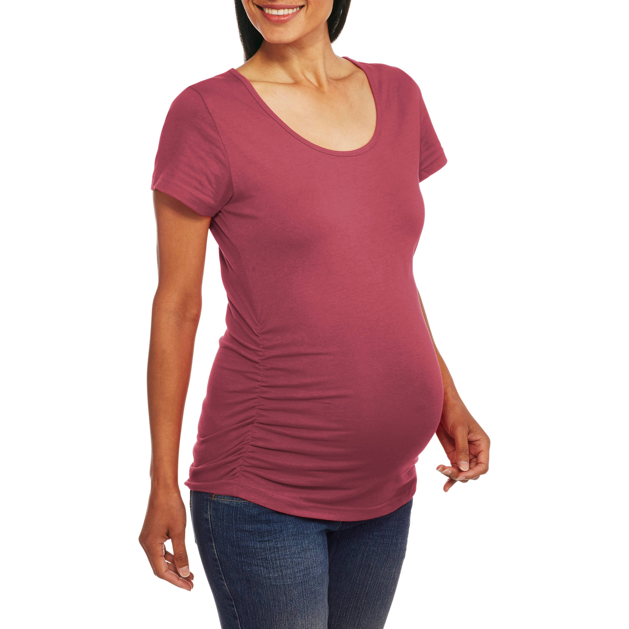 Oh! Mamma Maternity Short Sleeve Tee With Flattering Side Ruching--Available in Plus Size