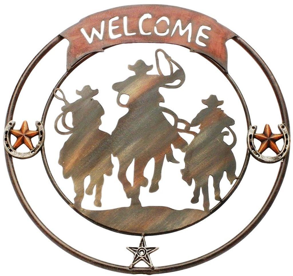 Western Moments Wall Decor Welcome Cowboys Horses 21 x 21 Brown 94058