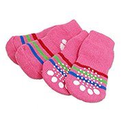 Uxcell Paw Pattern Knitted Pet Dog Puppy Warm Socks, Pink