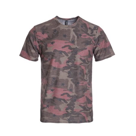 Camouflage Crewneck Tee (Hawks Bay Men's Crewneck T-Shirt Short Sleeve Tropical Camo Floral Leaves Prints Coral)