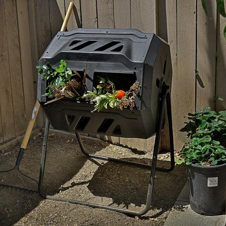 Barton Garden Trash Waste Bin Composter Tumbler Rotation Barrel 37-Gallon,