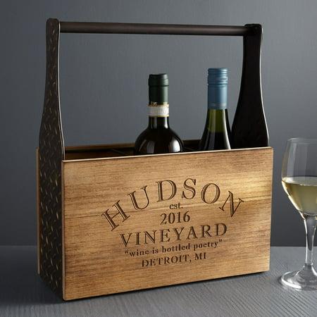 Personalized RedEnvelope Modern Vineyard Wood Wine Carrier
