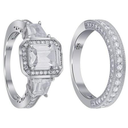 Gem Avenue 925 Sterling Silver 4-Prong Princess Cut Cubic Zirconia 14mm Wedding Band Engagement Ring Set