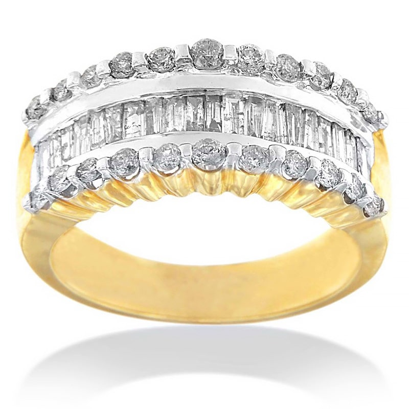 14k Yellow Gold 1 CTTW Round and Baguette-cut Diamond Ring (J-K, I2-I3) Size 7
