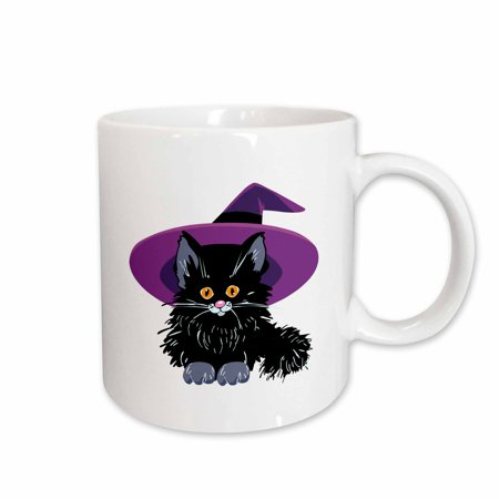 3dRose Cute Adorable Baby Black Kitten Kitty Cat Wearing Purple Witch Hat For Halloween Spooks - Two Tone Red Mug, 15-ounce](Kitty Cat For Halloween)