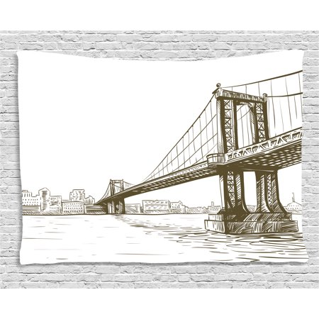 New York Tapestry, Digital Drawn Brooklyn Bridge Unusual Graffiti Style Old Urban Cityscape Print, Wall Hanging for Bedroom Living Room Dorm Decor, 60W X 40L Inches, Brown White, by Ambesonne](Good Room Brooklyn Halloween)