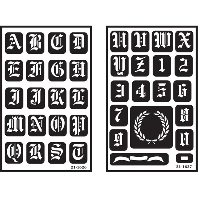 Armour Products 130467 Over n ft.  Over Reusable Glass Etching Stencils 5 inch x 8 inch 2-Pkg-Old English Alphabet