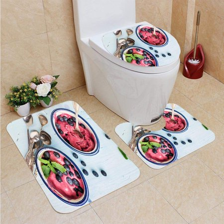 GOHAO berry ice Cream Scoops Fresh Berries Mint 3 Piece Bathroom Rugs Set Bath Rug Contour Mat and Toilet Lid Cover