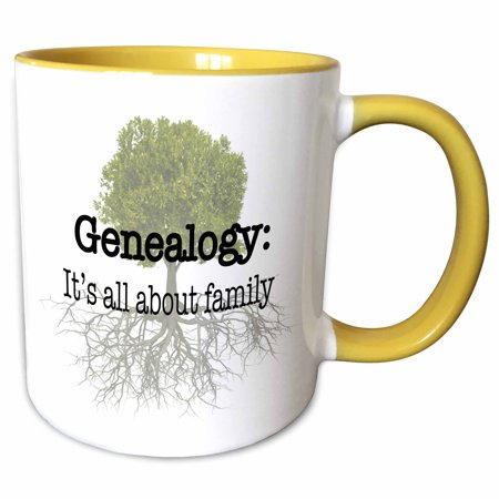 3dRose Genealogy it's all about family - Two Tone Yellow Mug, 11-ounce