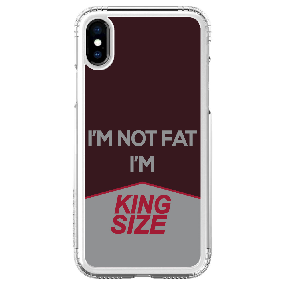 """SaharaCase iPhone X / XS (5.8"""" Screen) Clear Shockproof Custom Case By DistinctInk - Protective Kit & ZeroDamage Screen Protector - I'm Not Fat, I'm King Size - Chocolate Bar"""