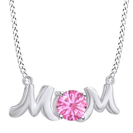 Mother's Day Jewelry Gifts Round Shape Simulated Tourmaline Mom Pendant Necklace In 14k White Gold Over Sterling