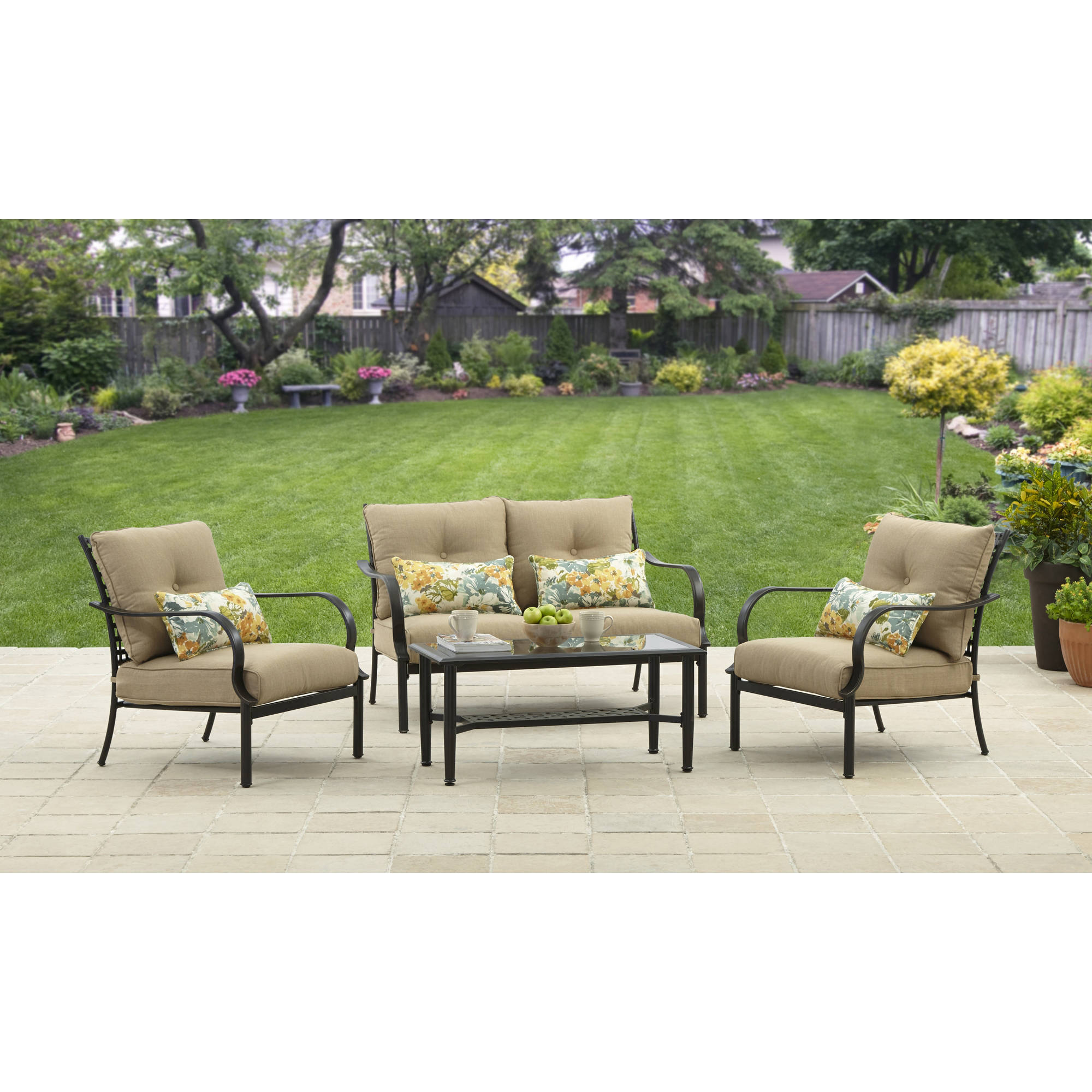 better homes and gardens wellington hills 4 piece conversation set rh walmart com outdoor furniture wellington fl outdoor furniture wellington city