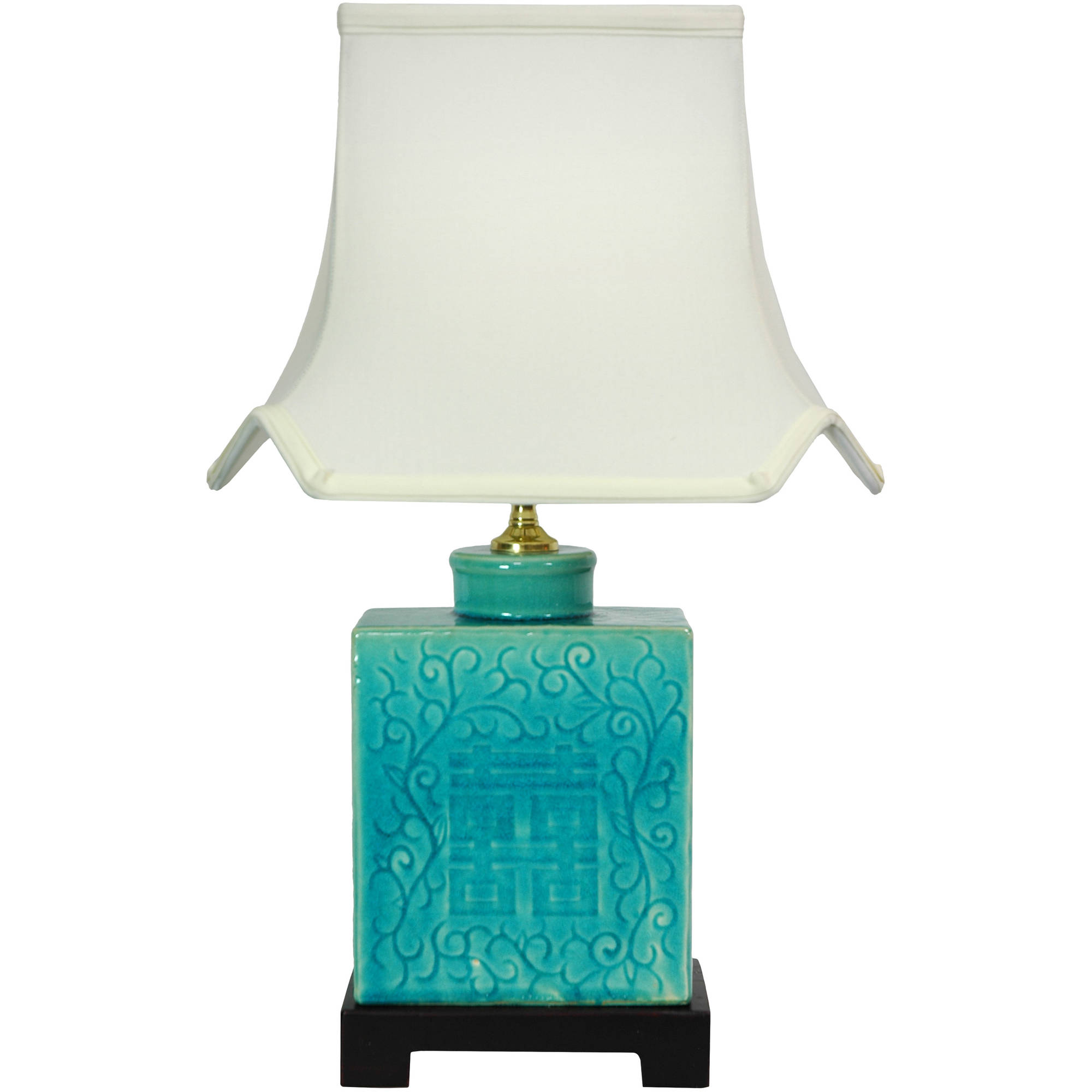 """20"""" Turquoise Porcelain Lamp by Oriental Furniture"""