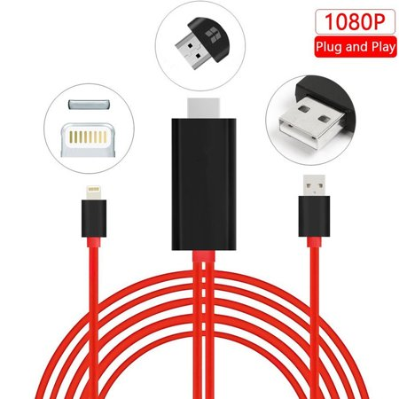 Lightning to HDMI, iPhone to HDMI Cable Lightning Digital AV to HDMI Adapter Cable with 1080P Resolution for iPhone, iPad and iPod (Plug and Play)