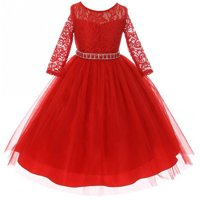 f7a9feb9852 Product Image Big Girls  Dress Lace Top Rhinestones Tulle Holiday Christmas  Party Flower Girl Dress Red Size