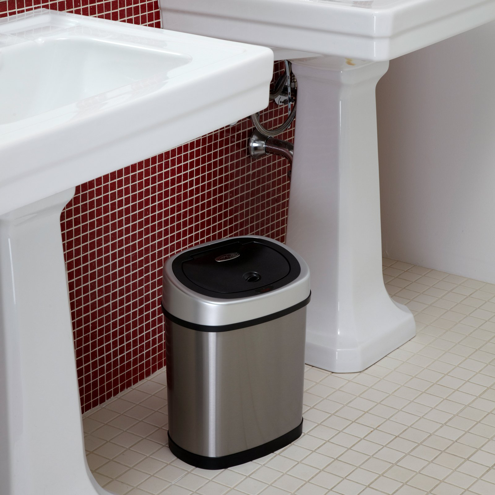 Nine Stars DZT-12-9 Touchless Stainless Steel 3.1 Gallon Trash Can