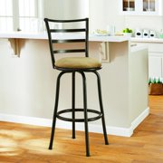 """Mainstays 29"""" Ladder Back Swivel Bar Stool with Tan Microfiber Seat by Cheyenne Products"""