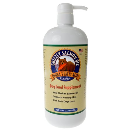 Grizzly Salmon Oil All-Natural Dog Food Supplement In Pump-Bottle Dispenser, 32 Ounces ()