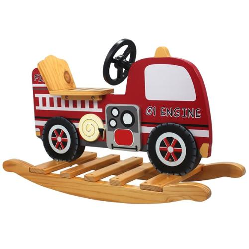 Teamson W-4007A Fire Engine Toy Chest - Trains and Trucks Room Collection