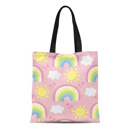 Blue Canvas Tote - SIDONKU Canvas Tote Bag Blue Kid Rainbow and Clouds Pattern Colorful Cute Baby Reusable Shoulder Grocery Shopping Bags Handbag