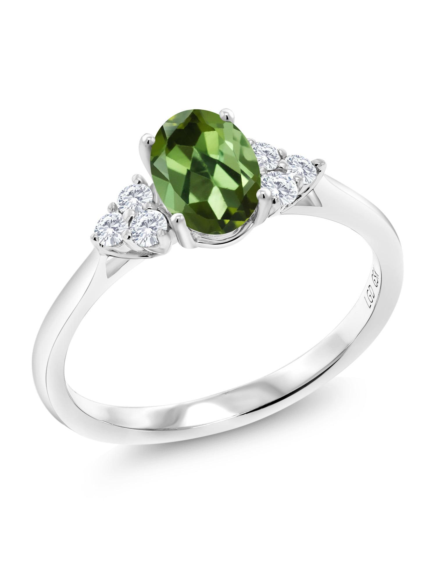 0.93 Ct Oval Green Tourmaline G H Lab Grown Diamond 10K White Gold Ring by