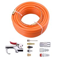 3/8'×50ft PVC Air Hose With 10 Piece Air tool and Accessory Kit With Blow Gun/ Air Coupler(WYNNsky 300PSI) …
