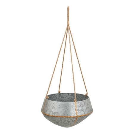Mainstays Callery Galvanized Metal Hanging Planters, Set of Two