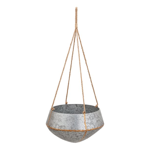Mainstays Callery Galvanized Metal Hanging Planters Set Of Two Walmart Com Walmart Com