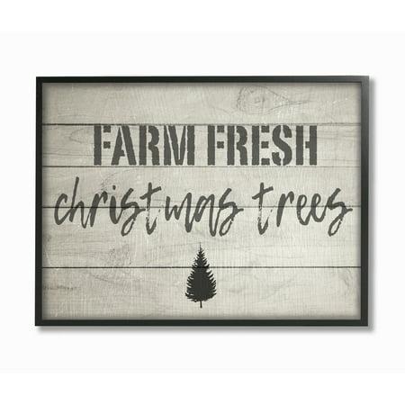 Stupell IndustriesFarm Fresh Christmas Trees Vintage SignFramed Wall Art by Daphne Polselli ()