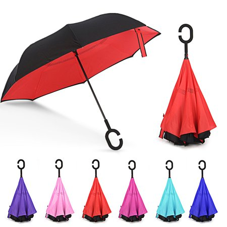 M.Way 190T Windproof UV Protection Inverted Umbrella Double Layer Inside Out Reverse Car Outdoor Folding No Drip Umbrella C-Shaped Handle