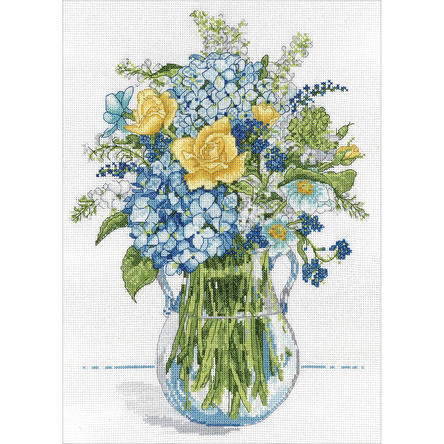 "Blue and Yellow Floral Counted Cross Stitch Kit, 10"" x 14"", 14-Count"