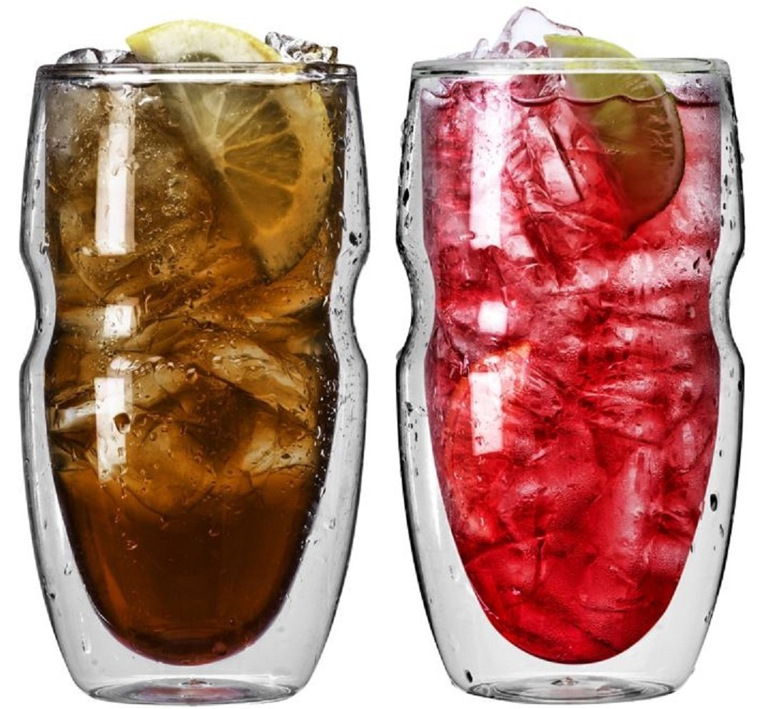 Serafino Double Wall 16 oz Iced Tea & Coffee Glasses - Set of 2 Insulated Drinking Glasses