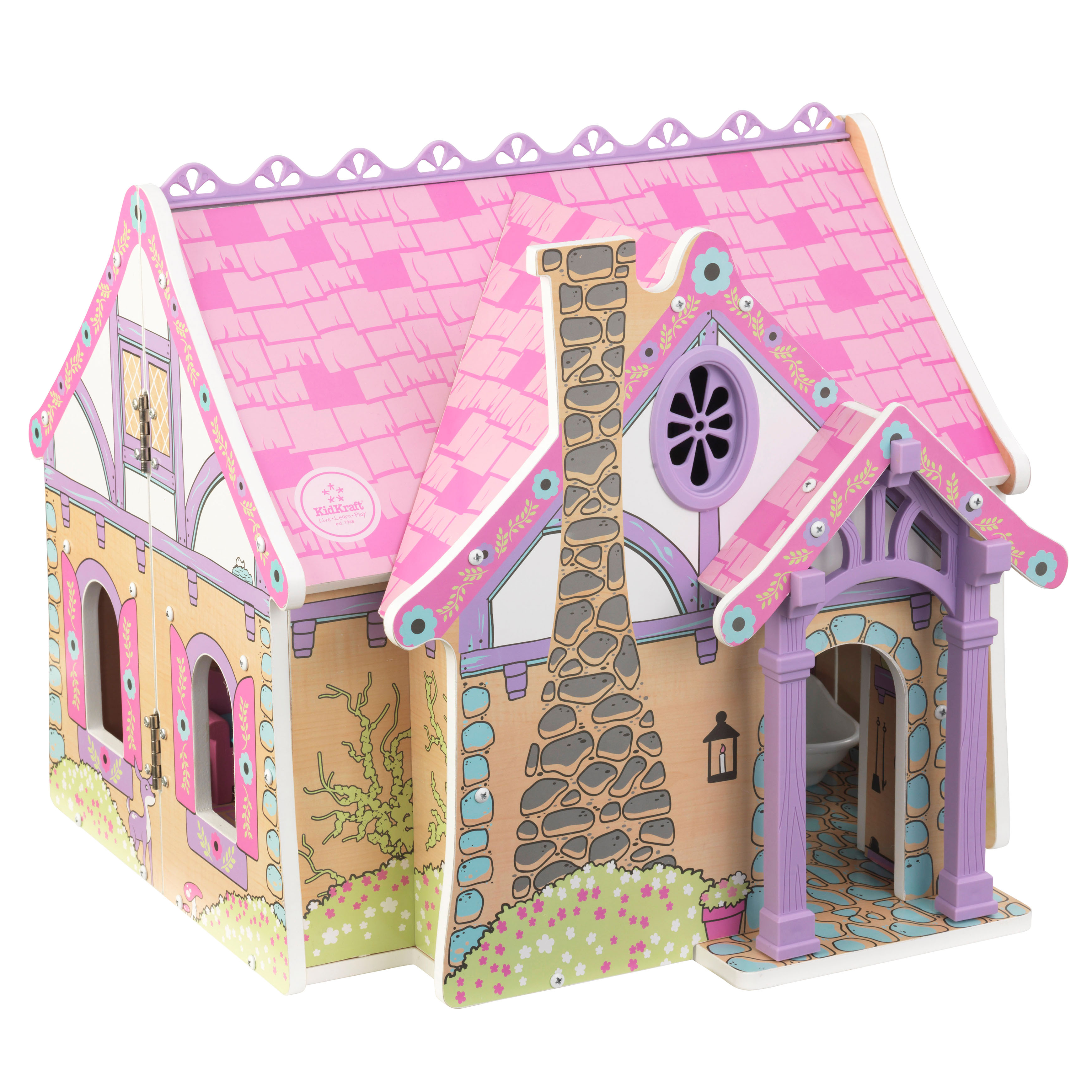 KidKraft Wooden Enchanted Forest Dollhouse with 16-Piece Accessories for 5-Inch Dolls, Opens and Closes