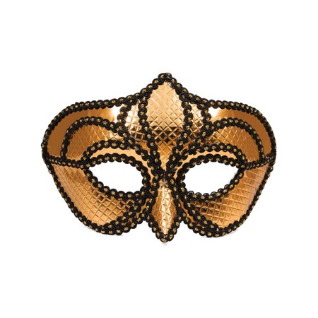 Gold Cyborg Sequin Venetian Carnival Party Mask Costume Accessory