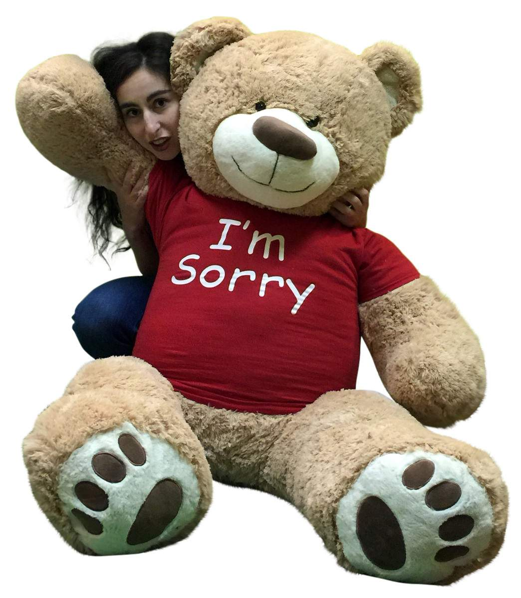 I'm Sorry Giant Teddy Bear 5 Feet Tall Tan Color Soft Wears T shirt that says I'M SORRY by BigPlush