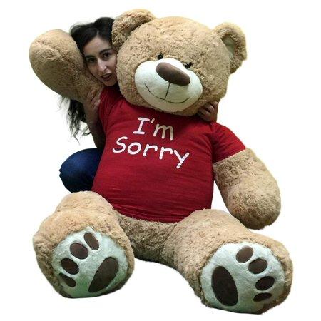 Felt Teddy Bear (I'm Sorry Giant Teddy Bear 5 Feet Tall Tan Color Soft Wears T shirt that says I'M)