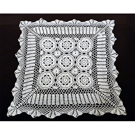 - Handmade Crochet Lace Centerpiece Doily. 24-inch (White, Square)