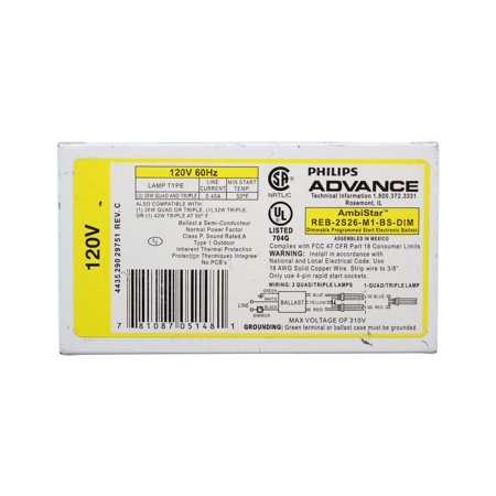 Advance REB-2S26-M1-BS Dimmable Electronic CFL Fluorescent Ballast, 26W, 2 Lamp